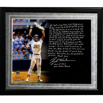 Rickey Henderson Facsimile Stolen Base Record Framed Metallic 16x20 Story Photo