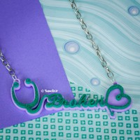 Broken Heart Stethoscope Glitter Green Necklace