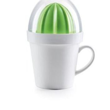 5-piece Set Citrus Juicer with Porcelain Mug for Easy Juicing of Limes, Lemons, Oranges, Looks Like a Cactus
