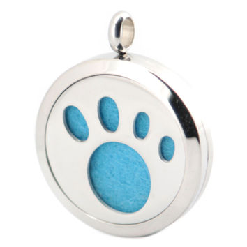 Silver Jewelry  30mm  Dog Paw Aromatherapy Essential Oils Stainless Steel pendant Perfume Diffuser Locket Necklace