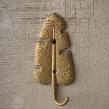 Cast Iron Gold Banana Leaf Hook