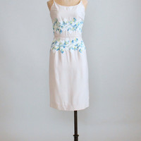 Vintage 1950s Crewel Embroidered Cotton Sundress