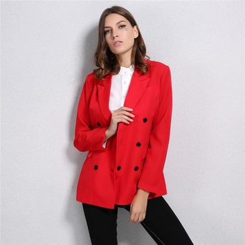 Women Blazer Double-Breasted Button Notched Collar  Work Office Suits Outwear