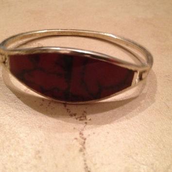 Vintage Alpaca Silver Bracelet Deep Red Inlay Enamel Boho Mexican Jewelry