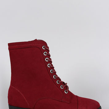 Bamboo Faux Suede Pointy Toe Flat Lace Up Boot
