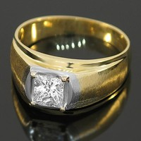 14K Yellow Solid Gold Mens Diamond Ring 1.13 Ctw