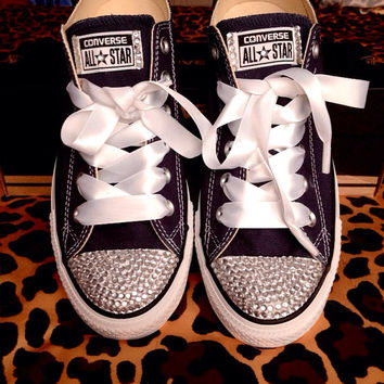 Rhinestone Converse With Ribbon Laces from ConverseCustomized on 9fd027a27