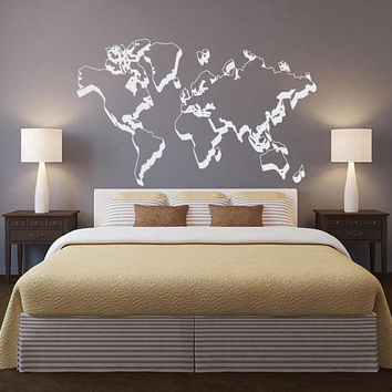 World Map Outlines Wall Decal - World Map Wall Decor - Outline of World Wall Sticker Map Vinyl Graphics- Large World Map Wall Sticker Decal