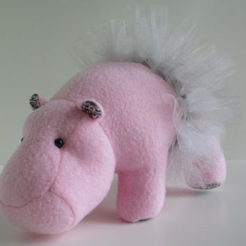 Victoria the hippo, small, mini, pink, grey, silver, white, stuffed animal