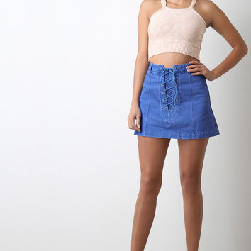 Lace-Up Denim Skirt