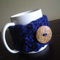 Unique Crocheted Navy Blue Coffee Cup Cozy, Sleeve, Handmade, Cup Insulator, Mug, Choice of Colors, Gift for Dad, Gift for Mom,Holiday Gifts
