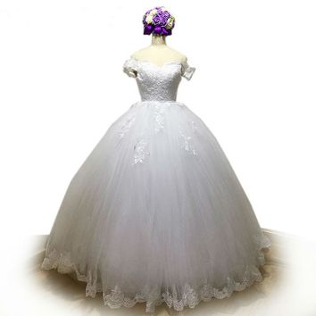 Elegant Lace Wedding Dress Appliques Off-Shoulder Tulle Ball Gown Wedding Dresses