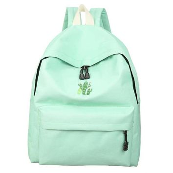 New Womens Cute Cactus Embroidery Simple Minimalist Canvas Backpack