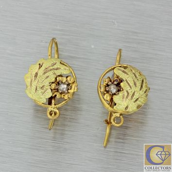 1880s Antique Victorian Estate 14k Yellow Gold Diamond Leaf Hook Earrings J8