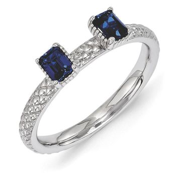 Sterling Silver Stackable Created Sapphire Octagon Two Stone Ring