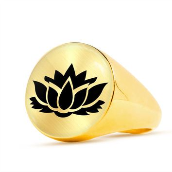 Lotus Flower - 18k Gold Finished Luxury Signet Ring