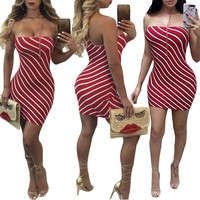 Strapless Stripe Straps Halter Short Dress