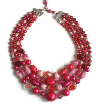 """Vintage Lucite Necklace - Pink 4-Strand Necklace - 1950's - Japan - 14"""" extends to 16.5"""""""