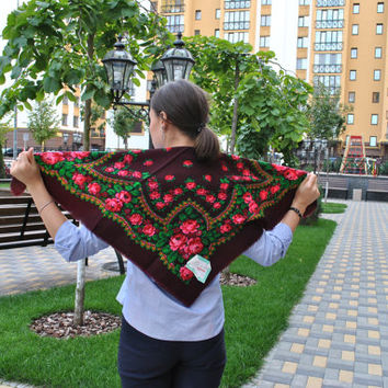 New Condition Marsala shawl Ukrainian shawl Russian shawl Vintage Wool floral scarf Made in USSR Vintage shawl Babushka shawl
