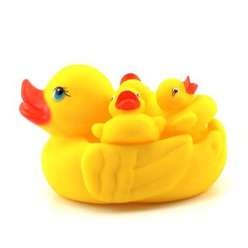 4pc Rubber Squeaky Yellow Duck  Shower Bath Floating Baby Kids Toy