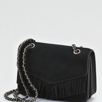 AEO Fringe Mini Crossbody Bag, Black