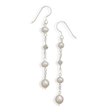 White Cultured Freshwater Pearl and Swarovski Crystal Drop Earrings