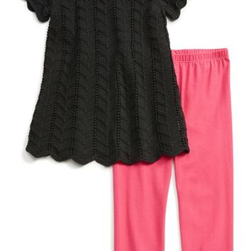 Girl's Pippa & Julie Open Knit Sweater & Leggings