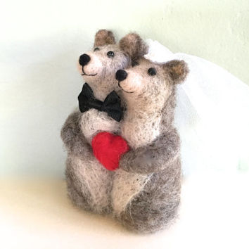 Needle Felted Bear Wedding Cake Topper Animal