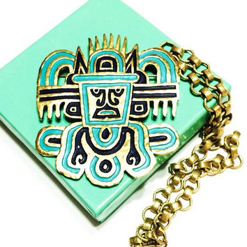 BLACK FRIDAY DISCOUNT Trifari Tribal, Aztec Pendant and Brooch, Gold with Turquoise and Navy Enamel, 1970s