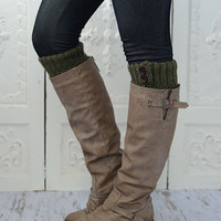 Boot Cuffs  Knitted Olive Green Short Leg Warmers with Wood Buttons Faux Boots Socks for a Layered WInter Look