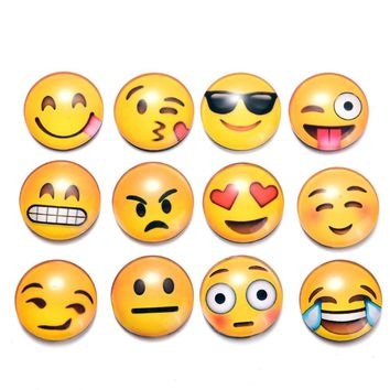 5PCS Round Smile Emoji Face Expressions Refrigerator Sticker Glass Cute Fridge Magnet Message Holder Christmas Accessories 4D