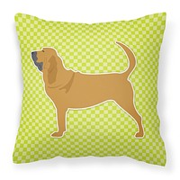 Bloodhound Checkerboard Green Fabric Decorative Pillow BB3784PW1818