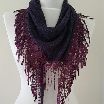 Gift For Her, Gift Ideas, Purple Victorian Lace Guipure Scarf,Womens Gifts, Womens Scarves, Gift For Wife