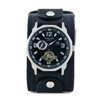 Nemesis Men's KIN010K Mechanical Black Dial with Black Leather Cuff Band Watch