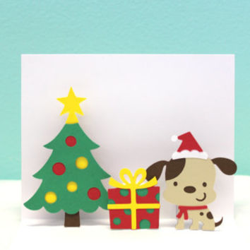 Pop Up Christmas Card - Dog Card - Puppy Christmas Card
