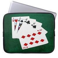 Poker Hands - Two Pair - Jack, Four Laptop Sleeve