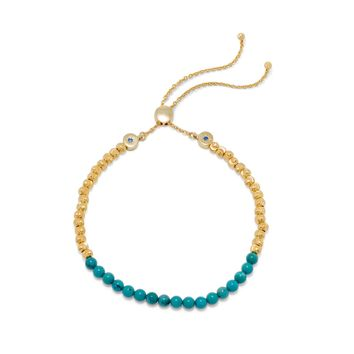 18k Gold Plated Sterling Silver Reconstituted Turquoise Bead Bracelet Bolo Bracelet