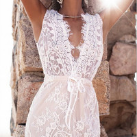 White Low-Cut Lace Dress