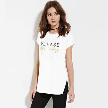 White Letter Print T-Shirt With Slit
