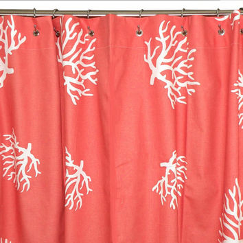 Coral Shower Curtain Chevron 72x72 Coral and by elisabethmichael