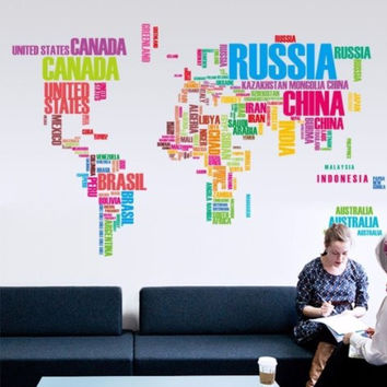 Large World Map Removable Wall Decal, Peel-N-Stick Sticker Application, Huge Finished