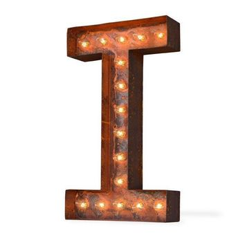 "12"" Letter I Lighted Vintage Marquee Letters (Modern Font/Rustic)"
