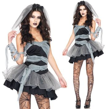 Vampire Zombie Cosplay Black Ghost Bride Costumes Witch Princess Mesh Dress and Head Wear Set Halloween Costumes For Women 2017