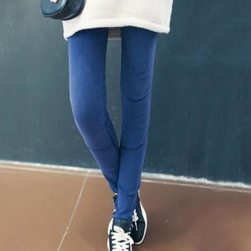 Spring Autumn Skinny Slim High Elastic Waist Washed Jeans Jeggings Pencil Pants Denim Leggings For Women