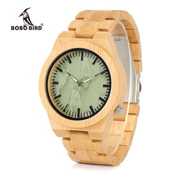 BOBO BIRD B22 Men's Bamboo Wood Wristwatch Ghost Eyes Wood Strap Glow Analog Watches with Gift Box