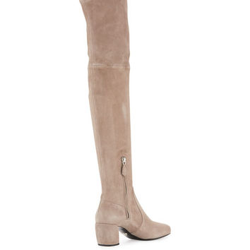 Prada Suede Metal-Heel Over-The-Knee Boot
