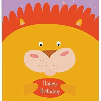 Jumbo Birthday Greeting Card: Fur You, Featuring a Sweet Cartoon Lion Portrait on a Brightly Colored Confetti Background, Funny Birthday Card - Free Shipping