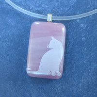 White Cat Necklace on semi clear Rubber Cord, Fused Glass Jewelry, Cat Jewelry - Sarina - 4543 -1