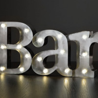 BAR - Illuminated Marquee Word Sign - Metal 22-in x 9-in