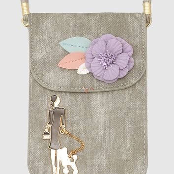 Poodle Dog Woman Floral Flower Crossbody Bag With Stripe
